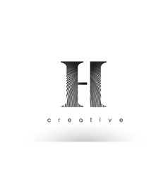 h logo design with multiple lines and black and vector image