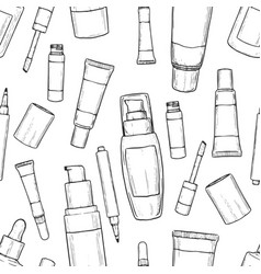 Hand drawn bootles of foundation vector
