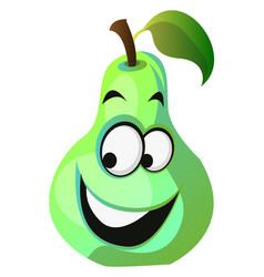 happy pear cartoon face on white background vector image