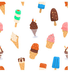 ice cream pattern with variety of flavours vector image
