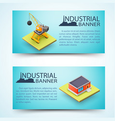 Industrial facility and building machinery banners vector