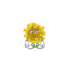 Infectious coronavirus mascot with worried face vector