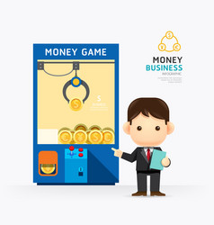 Infographic business claw game with coach design vector
