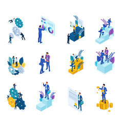 Isometric concept mechanism business operation vector