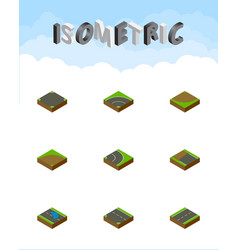 Isometric road set of bitumen asphalt downward vector