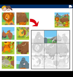 Jigsaw puzzle game with cartoon animal characters vector