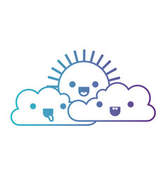 Kawaii cloud cumulus and sun in degraded blue to vector