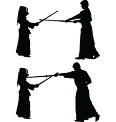 kendo japanese sport silhouette vector image