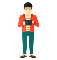 Man using tablet computer vector image