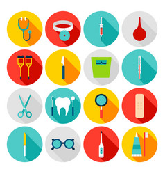 medical tools flat icons vector image