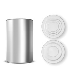 metal tin can for food front top and bottom view vector image