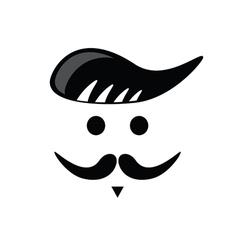 mustache face black vector image