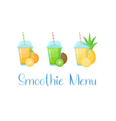 Natural fruit smoothie menu colection graphic vector