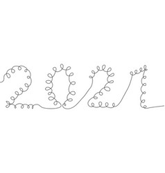 one line drawing style number 2021 year cow vector image