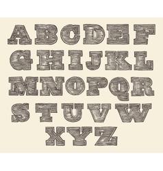 Original Font Wild West Wood Vintage Engraved vector