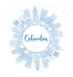 Outline columbus skyline with blue buildings vector