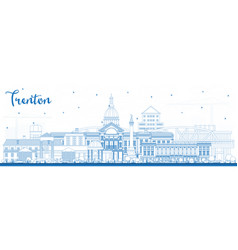 Outline trenton new jersey city skyline with blue vector