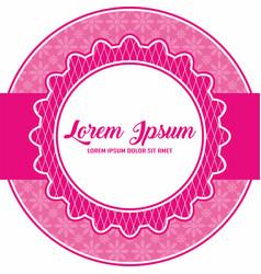Pink flower sticker label template 6 vector