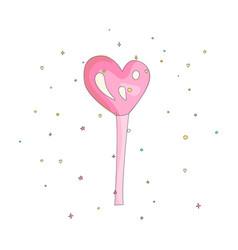 pink lollipop heart shape fun cartoon icon vector image