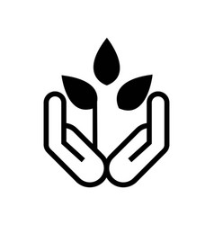 plant growing on hands palms icon icon simple vector image