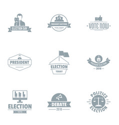 Presidential election logo set simple style vector
