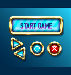 realistic game buttons set on blue background vector image