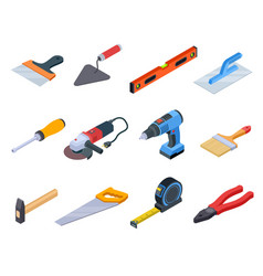Repair tool isometric handyman construction tools vector