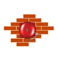 Retro alarm on the brick wall vector