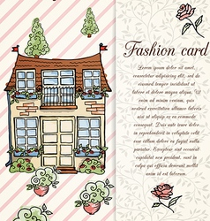 retro home hand drawn design card vector image