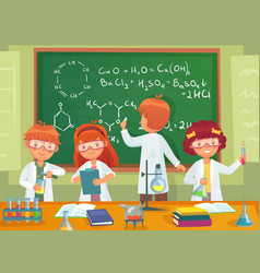 school kids study chemistry children pupils vector image