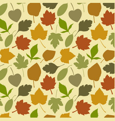 Seamless pattern with oak autumn leaves and vector