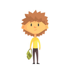 serious boy with spiky brown hair primary school vector image