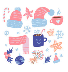 set christmas design elements knitted hats vector image