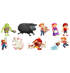 set different nursery rhyme character isolated vector image