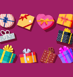 set gift boxes on red background vector image