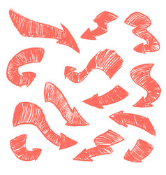 set hand-drawn doodle coral arrows on vector image