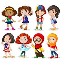 set of international girl vector image