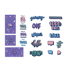 Set social media elements vector