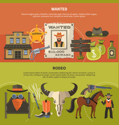 sheriffs attributes and rodeo banners vector image