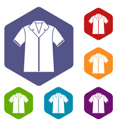 Shirt polo icons set vector