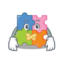 Silent puzzle mascot cartoon style vector