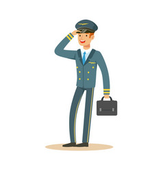 Smiling airline pilot character in blue uniform vector