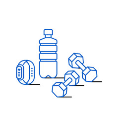 Sport water bottle dumbbells and fitness bracelet vector