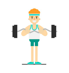 Sporty boy doing exercise with barbell vector