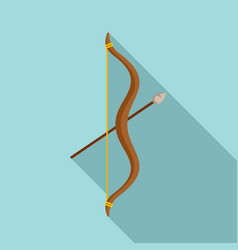 stone age bow arrow icon flat style vector image