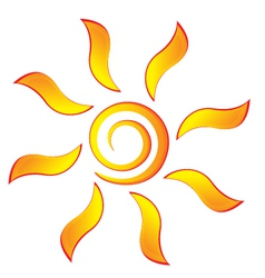 Sun with swirly rays logo vector image