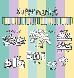 Supermarket doodle colorful vector