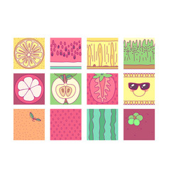 tableware template fruit set vector image