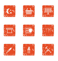 Township icons set grunge style vector