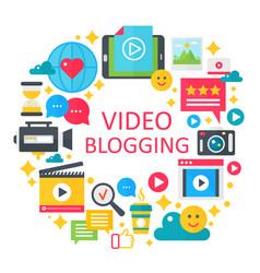video blogging flat concept vector image